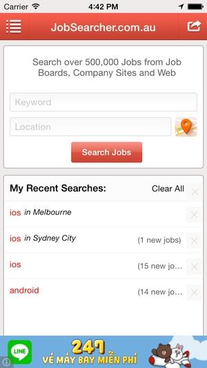 Screenshot Jobs Search on iPhone