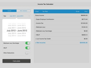 Screenshot Income Tax Calculator (Aussie & NZ) on iPad
