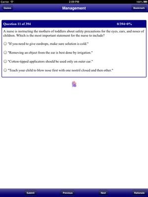 Screenshot NCLEX Stanford Review RN PN QBank on iPad