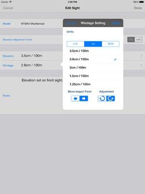 Screenshot Shootility SightSet on iPad