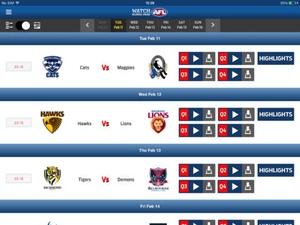 Screenshot Watch AFL Global Pass on iPad