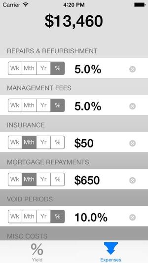 Screenshot Rental Yield Calc on iPhone