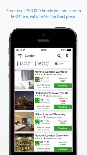 Screenshot trivago Hotel deal comparison from over 175 booking sites worldwide on iPhone