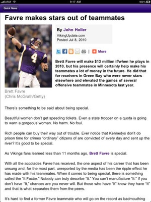 Screenshot Minnesota Vikings 2010 News and Rumors on iPad