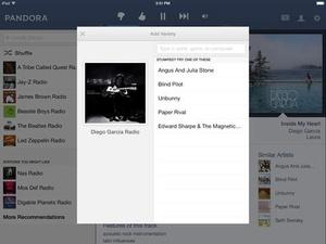 Screenshot Pandora Radio on iPad