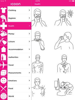 Screenshot ICOON global picture dictionary on iPad