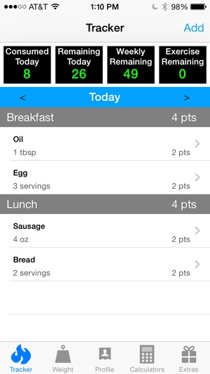 Screenshot Pts. Calculator With Weight and Exercise Tracker for Weight Loss on iPhone