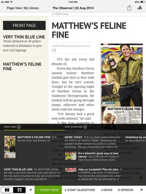 Screenshot The Gladstone Observer on iPad