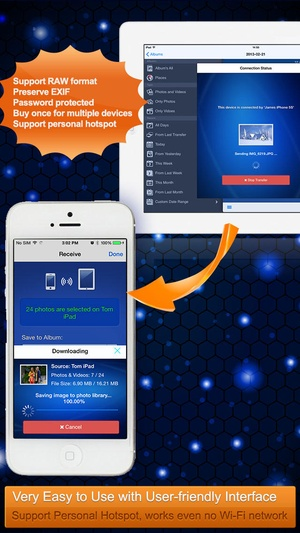 Screenshot Wireless Transfer App on iPhone