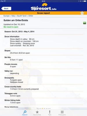 Screenshot Skiresort.info on iPad