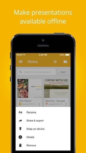 Screenshot Google Slides on iPhone