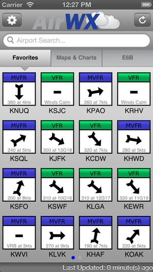 Screenshot AirWX Aviation Weather on iPhone