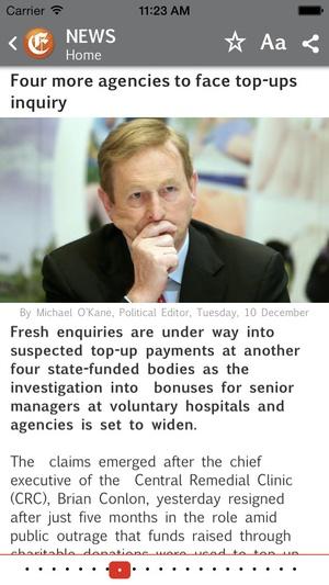 Screenshot Irish Examiner on iPhone