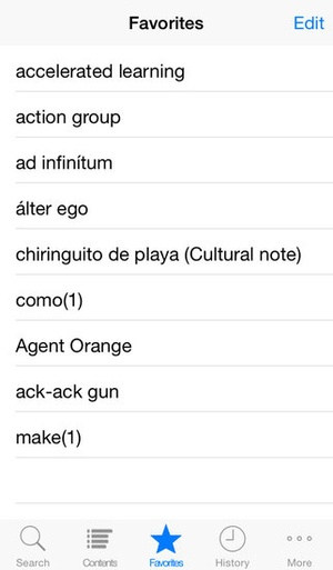 Screenshot Oxford Spanish Dictionary on iPhone