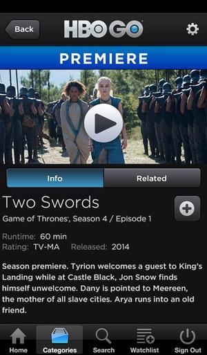Screenshot HBO GO on iPhone