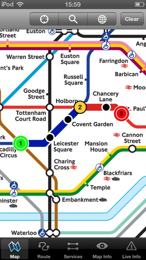 Screenshot London Underground on iPhone