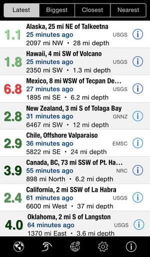 Screenshot QuakeWatch on iPhone