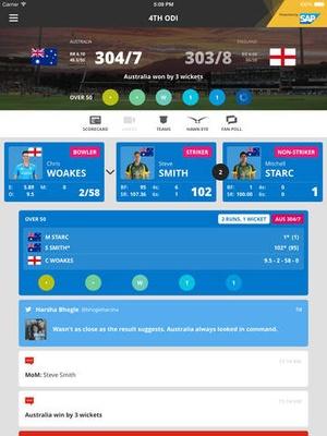 Screenshot ICC Cricket World Cup 2015 on iPad