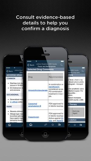 Screenshot Johns Hopkins ABX Guide 2015 on iPhone
