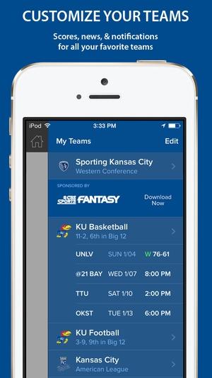 Screenshot CBS Sports on iPhone