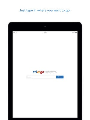 Screenshot trivago Hotel deal comparison from over 175 booking sites worldwide on iPad