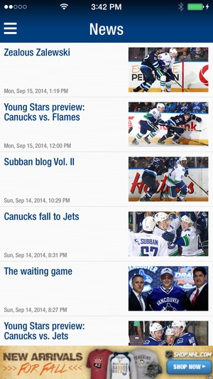 Screenshot Canucks on iPhone