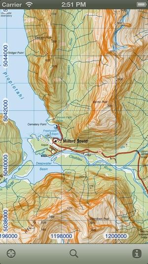Screenshot MapApp NZ South Island on iPhone