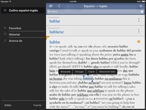 Screenshot Collins Spanish on iPad
