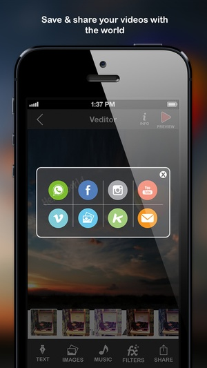 Screenshot Veditor: Video editor and movie maker studio for YouTube and Instagram and Vine on iPhone