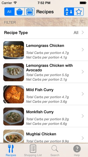 Screenshot Ultra Low Carb Recipes on iPhone