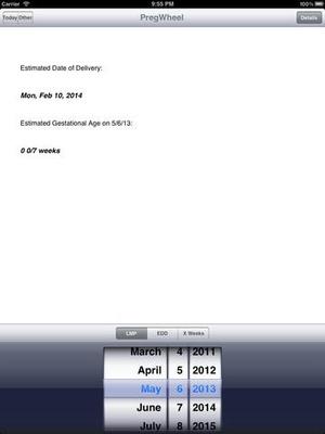 Screenshot Preg Wheel on iPad