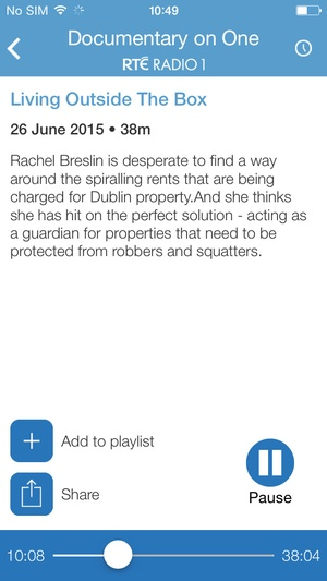 Screenshot RTÉ Radio Documentary on One on iPhone