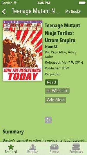 Screenshot TMNT Comics on iPhone