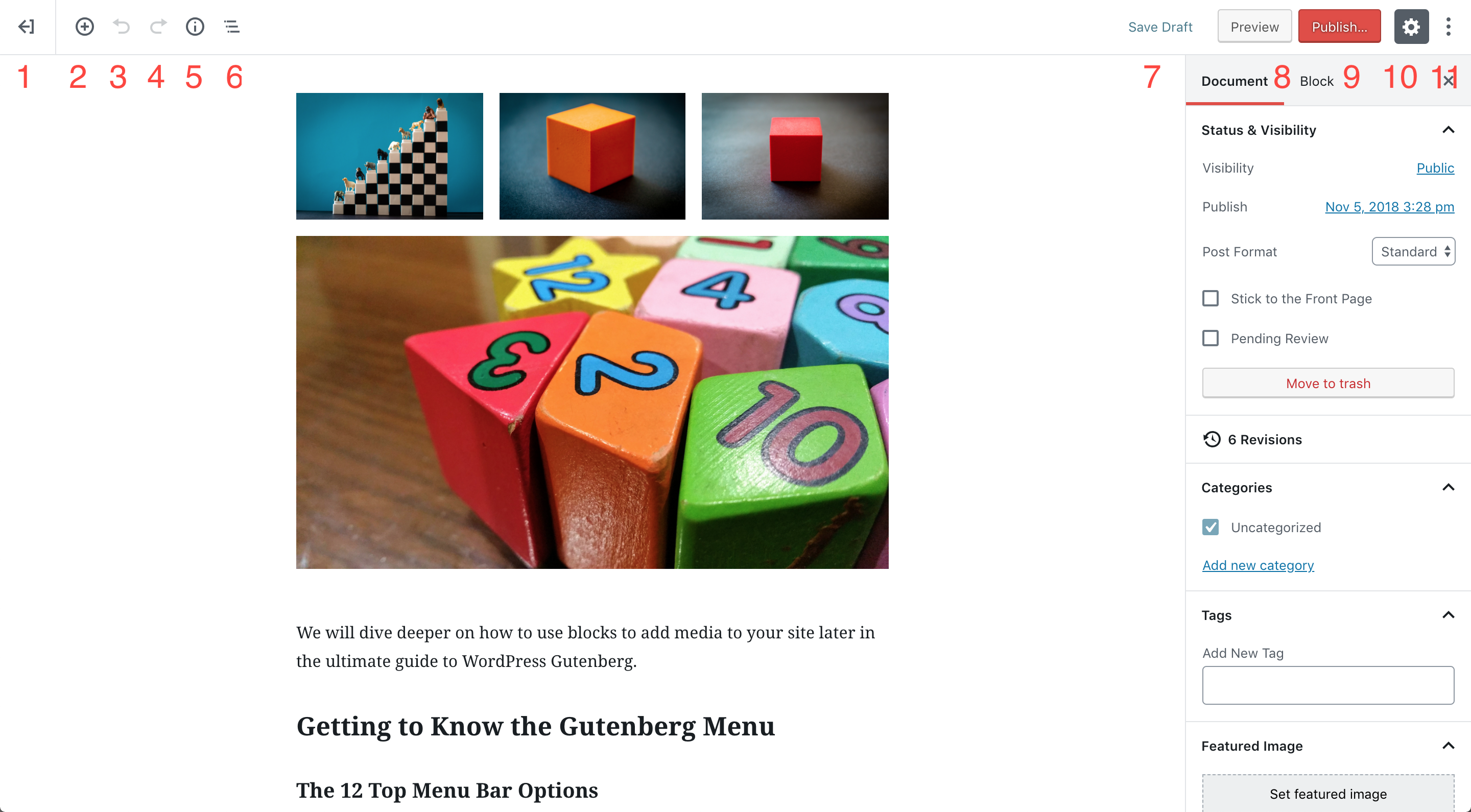 WordPress Gutenberg Top Bar