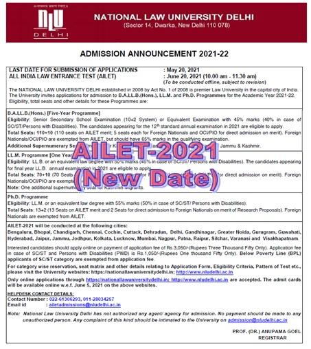 AILET-2021 Date of Exam