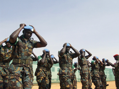 6f43347e4935b United Nations Photo  UNAMID Military Personnel Don Blue Beret