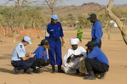 UNPol and DIS Officers Interview Sudanese Refugees