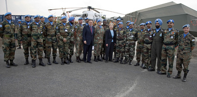 US Secretary of State and Special Representative for DR Congo with MONUC Troops