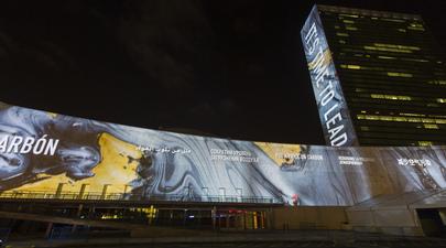 Massive Architectural Projections on UN Headquarters
