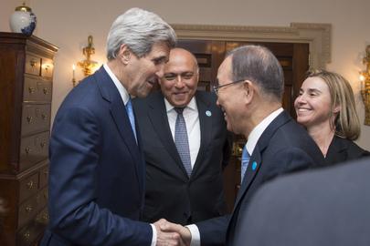 Secretary-General Meets US, EU, Egyptian Foreign Ministers on Libya