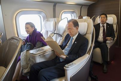 Secretary-General and Mrs. Ban Depart Sendai Via Bullet Train to Tokyo
