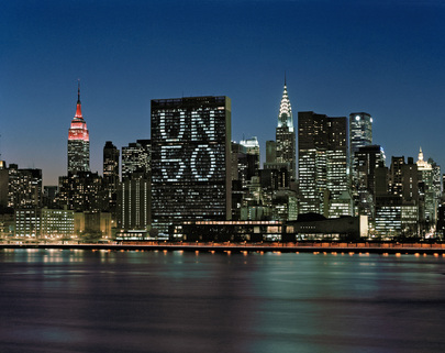United Nations Lights up in Commemoration of Its Fiftieth Anniversary