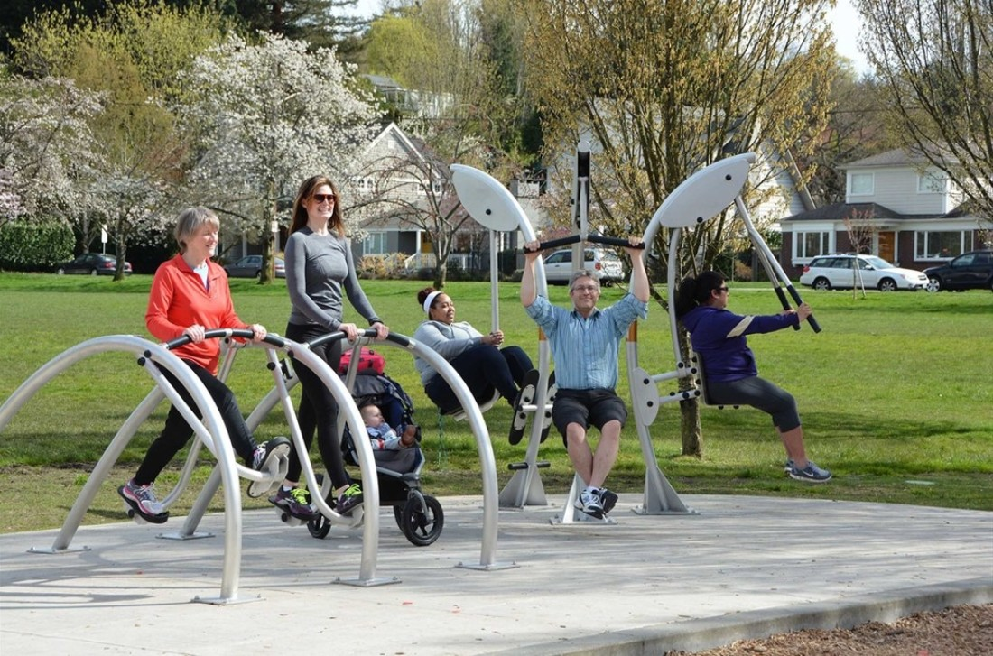 Norwell's Outdoor Fitness Equipment in a Park in British Columbia