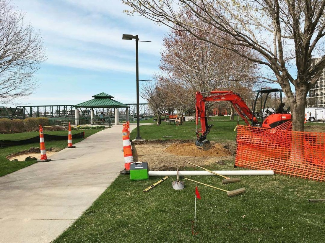 Construction of the Outdoor Exercise Stations in the Monroe North Neighborhood
