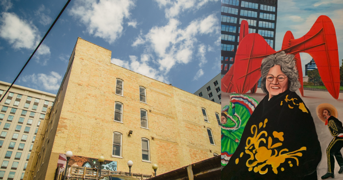 Current concept and location for the mural of Molly Ortiz Blakely. Rendering subject to change based on approval from the City of Grand Rapids' Art Advisory Committee.