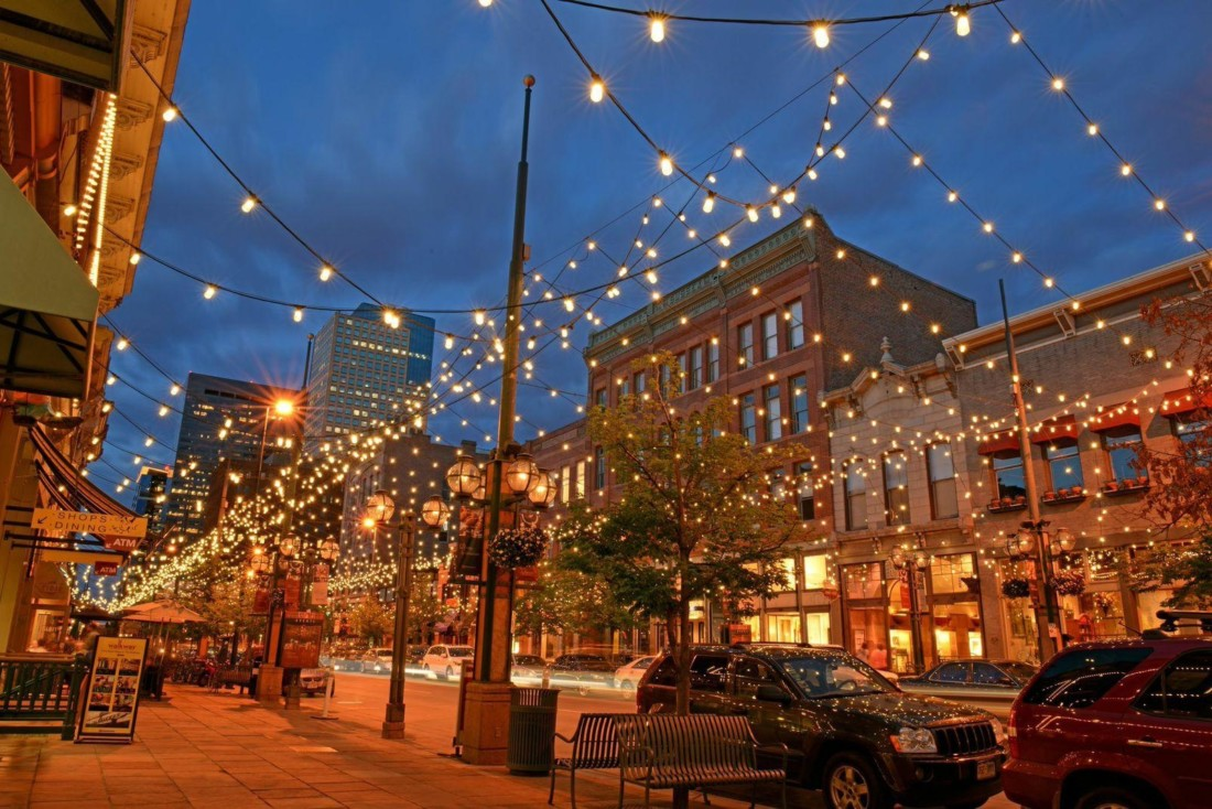 Larimer Square in Denver, CO offers a good example of how innovative lighting can enhance a streetspace