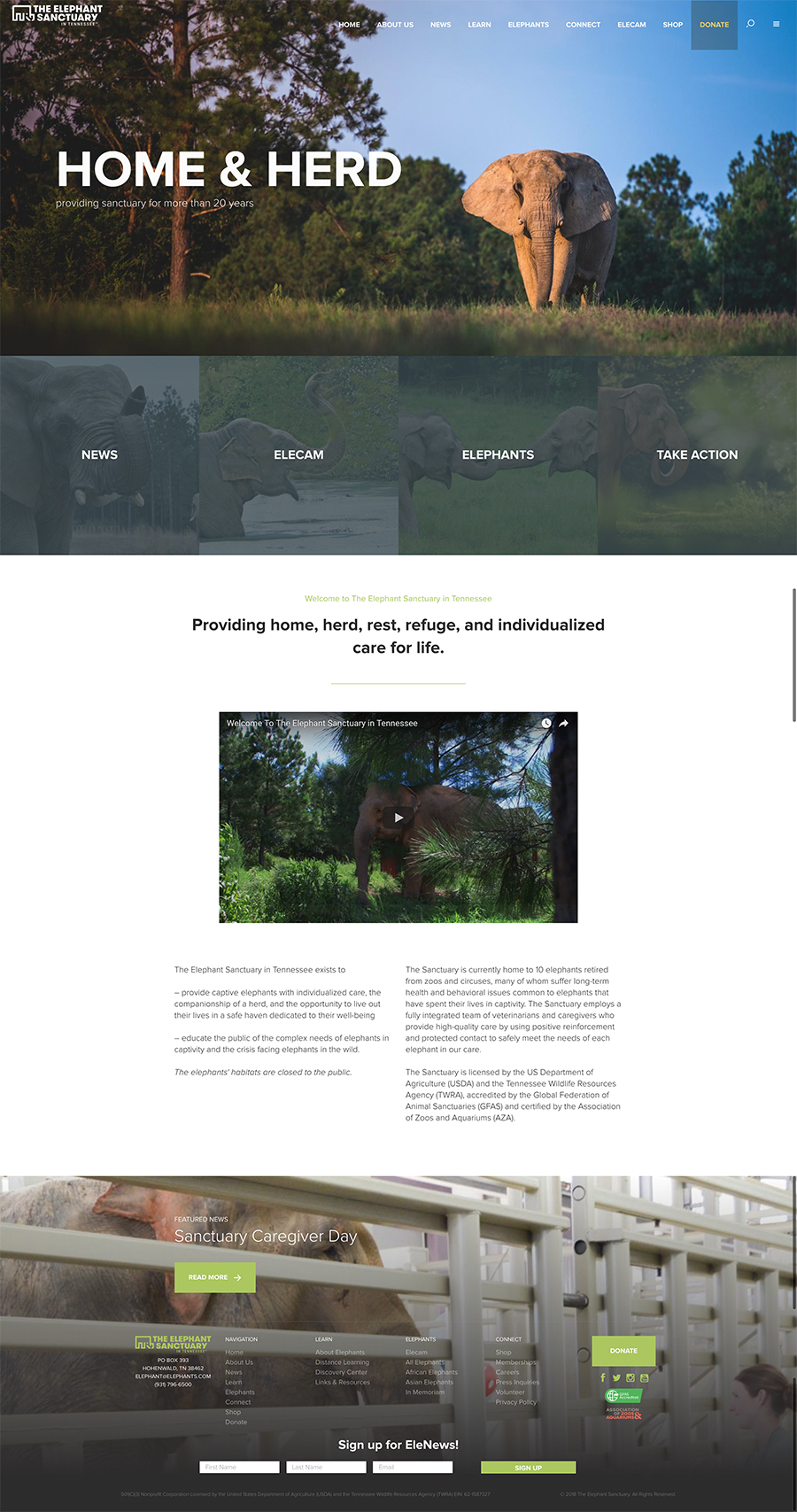 The Elephant Sanctuary Website Design