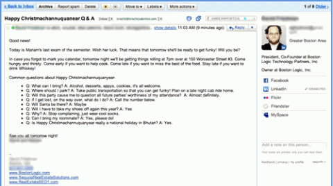 Screenshot of rapportive.com in my gmail for prospecting