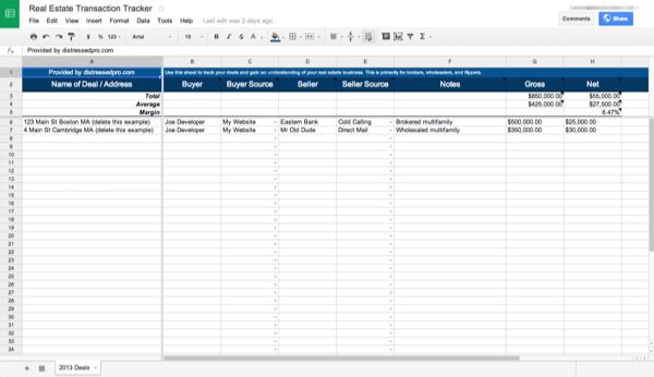 real estate transaction tracker spreadsheet