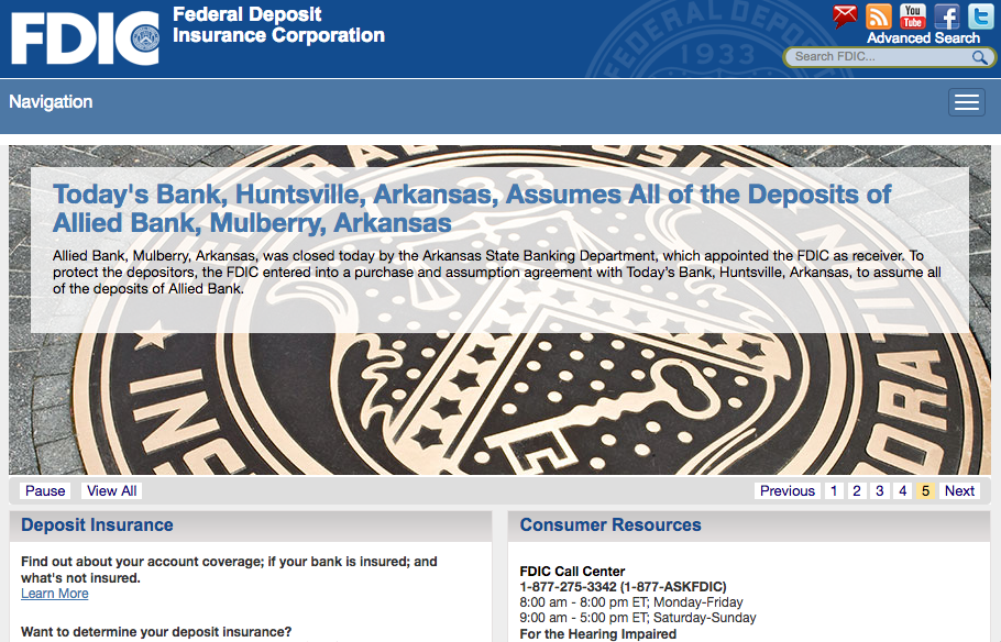 FDIC website screenshot